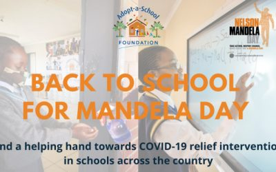 Adopt-a-School Foundation calls for COVID-19 relief projects in schools this Mandela Day